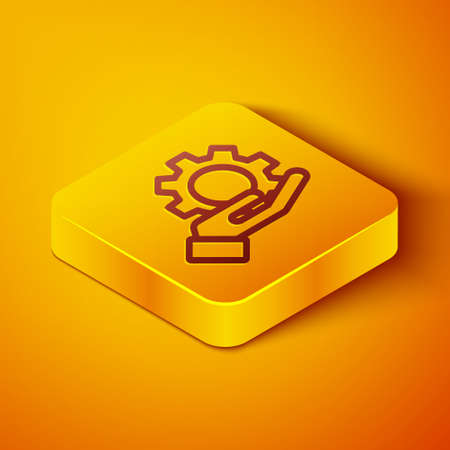 Isometric line Settings in the hand icon isolated on orange background. Yellow square button. Vector Illustration.