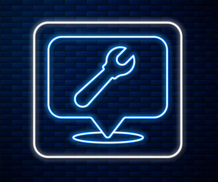 Glowing neon line Location with wrench spanner icon isolated on brick wall background. Adjusting, service, setting, maintenance, repair, fixing. Vector Illustration. Archivio Fotografico - 150644781
