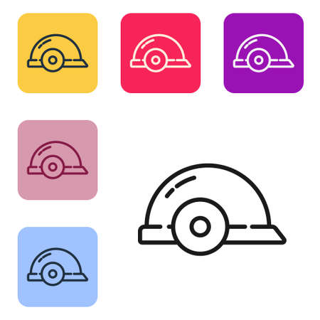 Black line Worker safety helmet icon isolated on white background. Set icons in color square buttons. Vector Illustration.