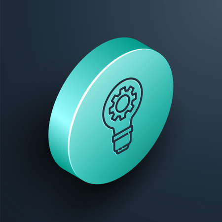 Isometric line Light bulb and gear icon isolated on black background. Innovation concept. Business idea. Turquoise circle button. Vector Illustration. Ilustração