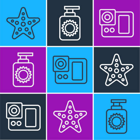 Set line Starfish, Photo camera and Sunscreen spray bottle icon. Vector. Vectores
