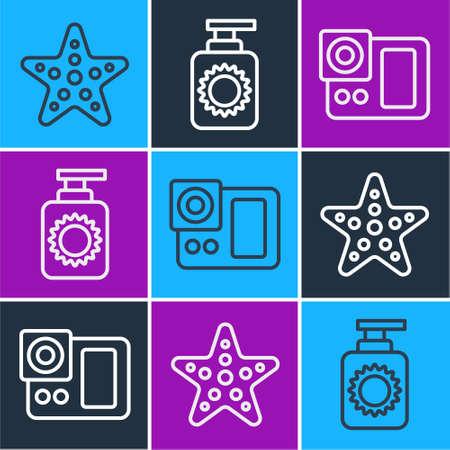 Set line Starfish, Photo camera and Sunscreen spray bottle icon. Vector. Stock Illustratie