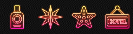 Set line Starfish, Sunscreen spray bottle, Wind rose and Signboard with text Hotel. Glowing neon icon. Vector. Stock Illustratie