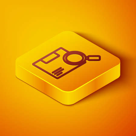 Isometric line Search package icon isolated on orange background. Parcel tracking. Magnifying glass and cardboard box. Logistic and delivery. Yellow square button. Vector Illustration.