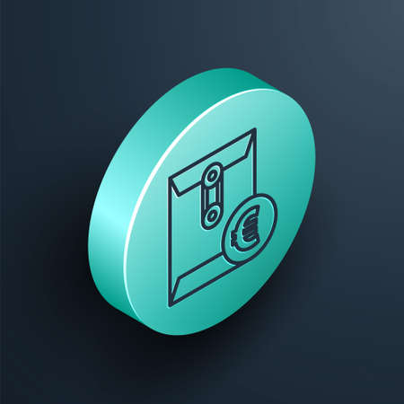 Isometric line Envelope with euro symbol icon isolated on black background. Salary increase, money payroll, compensation income. Turquoise circle button. Vector Illustration.