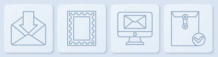 Set line Envelope, Monitor and envelope, Postal stamp and Envelope and check mark. White square button. Vector. Ilustração