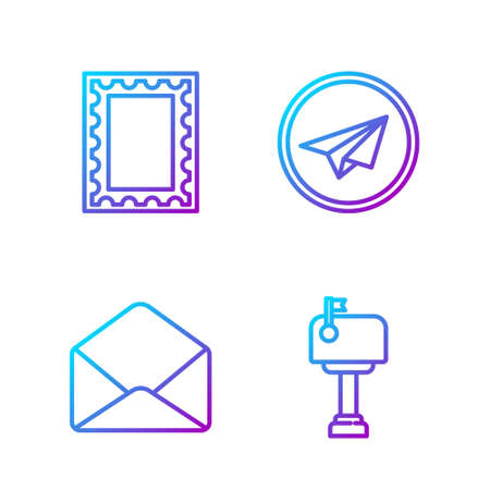 Set line Mail box, Envelope, Postal stamp and Paper plane. Gradient color icons. Vector. Ilustração