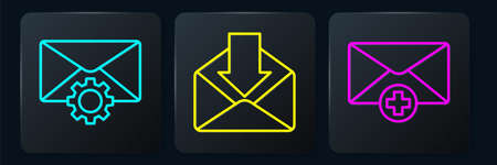 Set line Envelope setting, Received message concept and Envelope. Black square button. Vector.