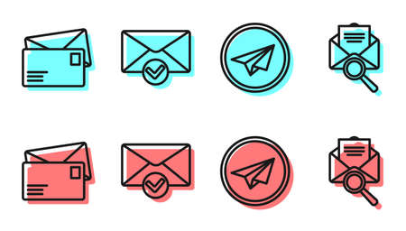 Set line Paper plane, Envelope, Envelope and check mark and Envelope with magnifying glass icon. Vector.