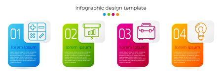 Set line Calculator, Graph, chart, diagram, infographic, Briefcase and Light bulb with concept of idea. Business infographic template. Vector.