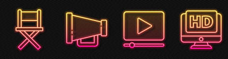 Set line Online play video, Director movie chair, Megaphone and Monitor with HD video. Glowing neon icon. Vector.