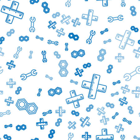 Set line Hexagonal metal nut, Crossed ruler and Wrench spanner on seamless pattern. Vector. Ilustracja