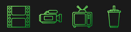 Set line Retro tv, Play Video, Cinema camera and Paper glass with water. Gradient color icons. Vector.