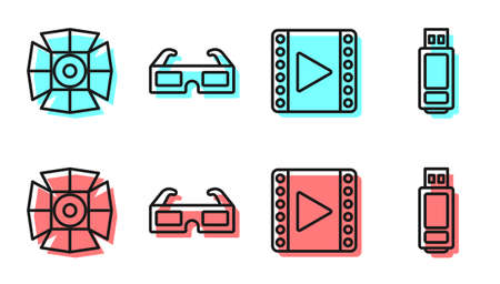 Set line Play Video, Movie spotlight, 3D cinema glasses and USB flash drive icon. Vector.
