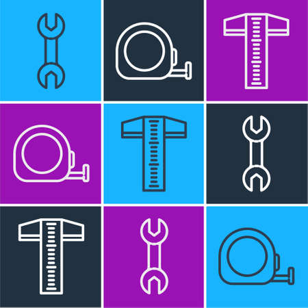Set line Wrench spanner, T-square line and Roulette construction icon. Vector.