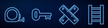 Set line Crossed ruler, Roulette construction, Old key and Wooden staircase. Glowing neon icon on brick wall. Vector.