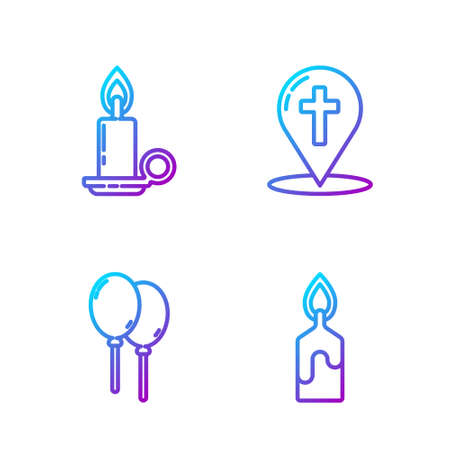 Set line Burning candle, Balloons with ribbon, Burning candle in candlestick and Map pointer with christian cross. Gradient color icons. Vector. 일러스트