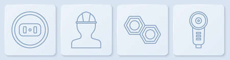 Set line Electrical outlet, Hexagonal metal nut, Worker safety helmet and Angle grinder. White square button. Vector.