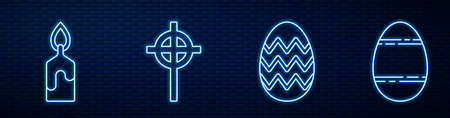 Set line Easter egg, Burning candle, Christian cross and Easter egg. Glowing neon icon on brick wall. Vector.