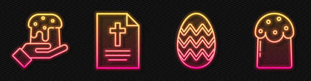 Set line Easter egg, Human hand and easter cake, Greeting card with Happy Easter and Easter cake. Glowing neon icon. Vector. 스톡 콘텐츠 - 150644689