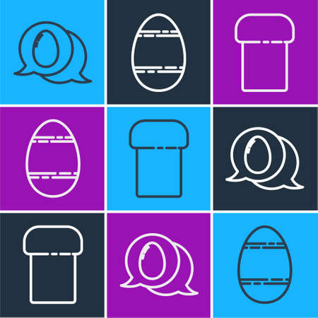 Set line Speech bubble with easter egg, Easter cake and Easter egg icon. Vector.
