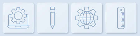 Set line Laptop and gear, Globe of the Earth and gear, Pencil with eraser and Ruler. White square button. Vector.