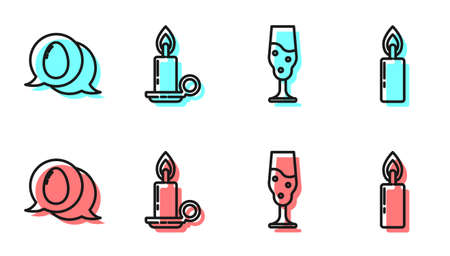 Set line Wine glass, Speech bubble with easter egg, Burning candle in candlestick and Burning candle icon. Vector.