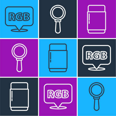 Set line Speech bubble with RGB and CMYK, Eraser or rubber and Magnifying glass icon. Vector.