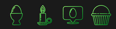Set line Speech bubble with easter egg, Easter egg on a stand, Burning candle in candlestick and Easter cake. Gradient color icons. Vector.