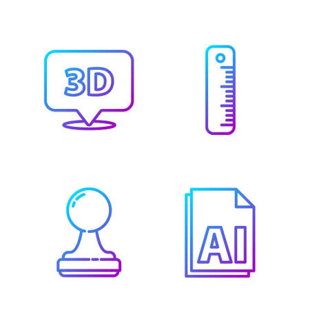 Set line AI file document, Stamp, Speech bubble with text 3D and Ruler. Gradient color icons. Vector.