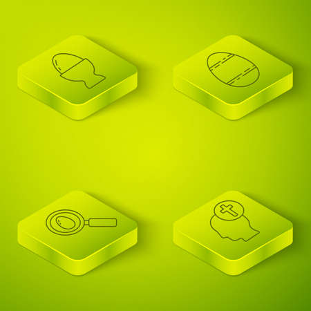 Set Isometric Easter egg, Search and easter egg, Human head with christian cross and Easter egg on a stand icon. Vector.