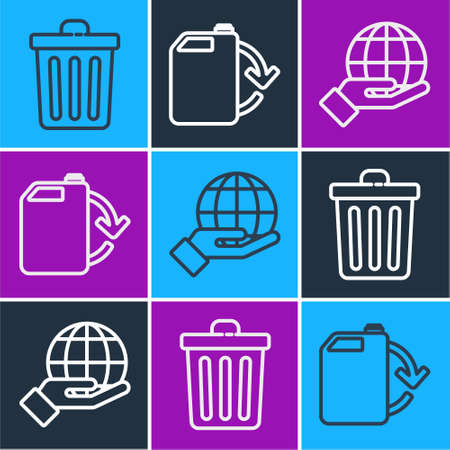 Set line Trash can, Hand holding Earth globe and Eco fuel canister icon. Vector.