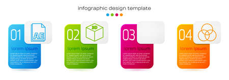Set line AE file document, Isometric cube, Red eye effect and RGB and CMYK color mixing. Business infographic template. Vector. Illustration