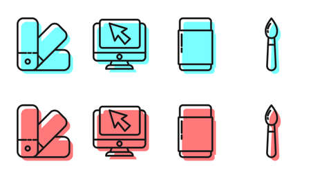 Set line Eraser or rubber, Color palette guide, Computer monitor and cursor and Paint brush icon. Vector.