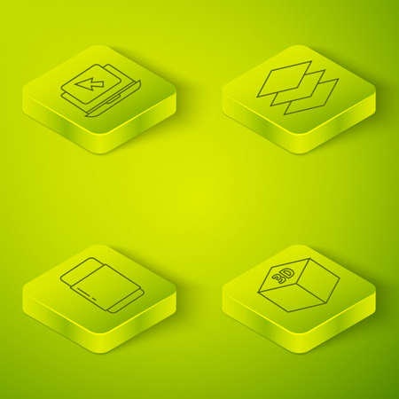 Set Isometric Layers, Eraser or rubber, Isometric cube and Laptop and cursor icon. Vector.