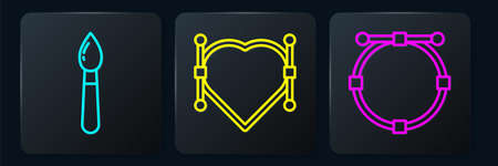 Set line Paint brush, Circle with Bezier curve and Heart with Bezier curve. Black square button. Vector.