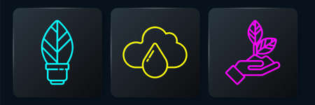 Set line Light bulb with leaf, Plant in hand and Cloud with rain. Black square button. Vector. Illustration