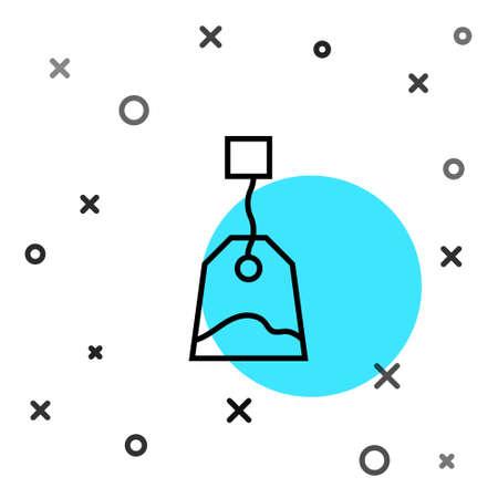 Black line Tea bag icon isolated on white background. Random dynamic shapes. Vector Illustration.