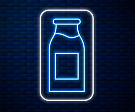Glowing neon line Closed glass bottle with milk icon isolated on brick wall background. Vector Illustration.