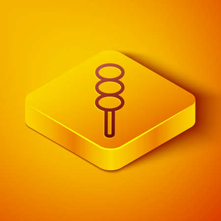 Isometric line Meatballs on wooden stick icon isolated on orange background. Skewer with meat. Yellow square button. Vector Illustration. Çizim