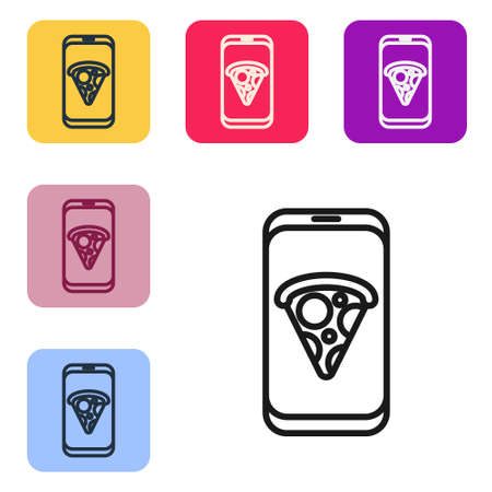 Black line Food ordering pizza icon isolated on white background. Order by mobile phone. Restaurant food delivery concept. Set icons in color square buttons. Vector Illustration.