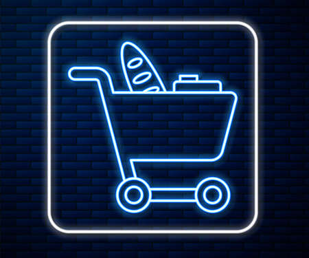 Glowing neon line Shopping cart and food icon isolated on brick wall background. Food store, supermarket. Vector Illustration.