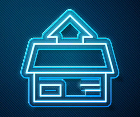Glowing neon line Carton cardboard box icon isolated on blue background. Box, package, parcel sign. Delivery and packaging. Vector Illustration.