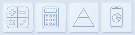 Set line Calculator, Pyramid chart infographics, Calculator and Mobile phone with graph chart. White square button. Vector.