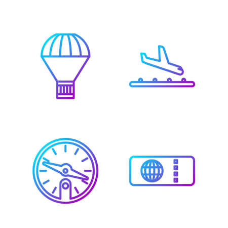 Set line Airline ticket, Compass, Box flying on parachute and Plane landing. Gradient color icons. Vector.