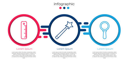 Set line Ruler, Magic wand and Magnifying glass. Business infographic template. Vector. Ilustração