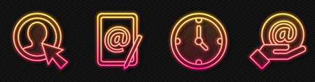 Set line Clock, Create account screen, Mail and e-mail and Mail and e-mail in hand. Glowing neon icon. Vector.