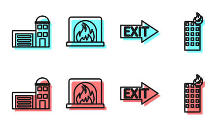 Set line Fire exit, Building of fire station, Interior fireplace and Fire in burning building icon. Vector.