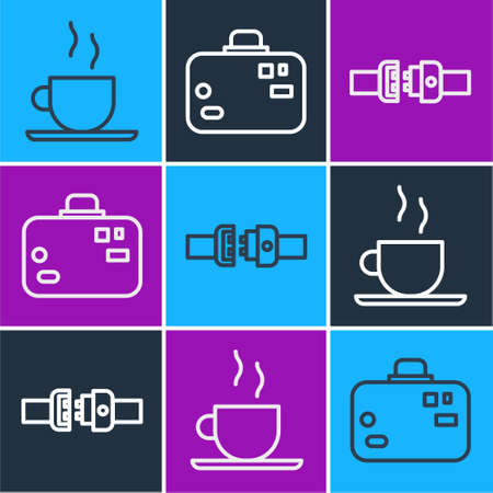 Set line Coffee cup, Safety belt and Suitcase icon. Vector.