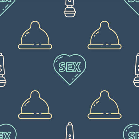 Set line Dildo vibrator, Condom and Heart with text Sex on seamless pattern. Vector.